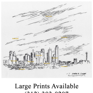 Dallas skyline pen & ink drawing of downtown.