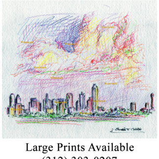 Dallas skyline color pencil drawing at sunset with clouds.
