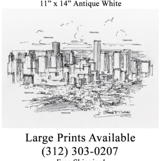 Houston skyline pen & ink drawing from aerial view.