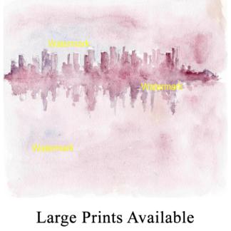 Manhattan skyline watercolor Impressionist style Condren.