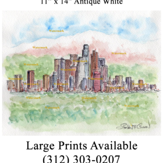 Los Angeles skyline watercolor with mountains.