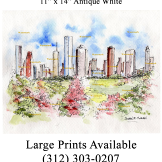 Houston skyline watercolor of downtown by Condren.
