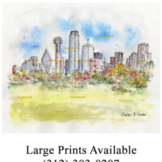 Dallas skyline watercolor of downtown by Reunion Tower.