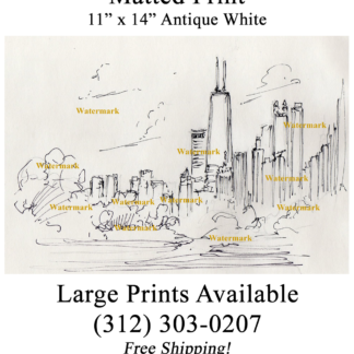 Pen & ink drawing of Chicago skyline