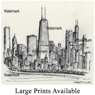 Chicago skyline pen & ink of near north side by Condren.