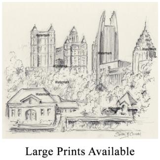 Atlanta skyline pencil drawing of Piedmont Park.