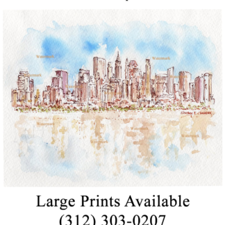 Lower Manhattan skyline watercolor painting by Condren.
