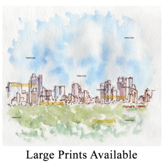 Manhattan skyline watercolor from Central Park.
