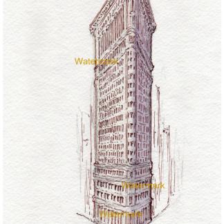 Flatiron Building watercolor with pen & ink by Condren.