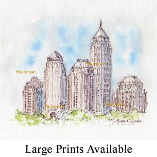 Atlanta skyline watercolor of midtown by Stephen Condren.