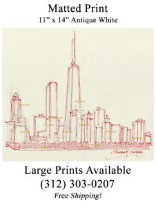 Chicago skyline pen & ink of near north side.