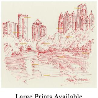 Atlanta skyline pen & ink of midtown by Stephen Condren.