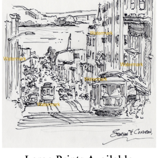San Francisco city scene with trolley cars by Condren.
