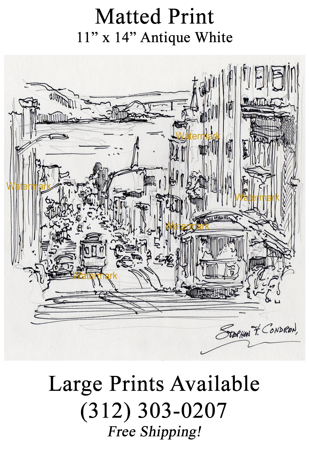 San Francisco Nob Hill drawing with trolleys in down hill traffic.