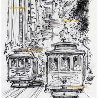 San Francisco trolleys traveling on California Street.