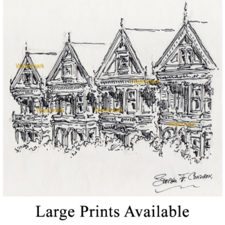 San Francisco pen & ink of Alamo Square Victorian houses.