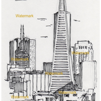 San Francisco skyline pen & ink drawing of Transamerica Center.