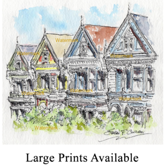 San Francisco watercolor of Alamo Square Victorian houses.