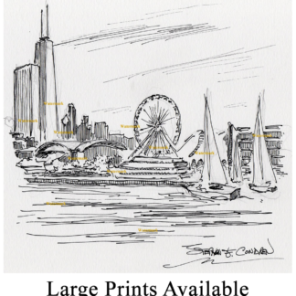 Chicago skyline with Navy Pier pen & ink drawing.