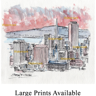San Francisco skyline watercolor at sunset by Condren.