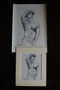 Pen & ink drawing of a shirtless cowboy