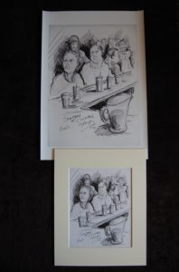 Pencil drawing of people sitting and talking at a bar