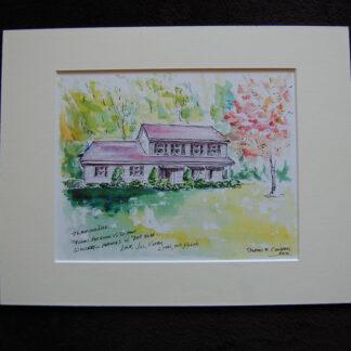 Watercolor house portrait by Stephen F. Condren