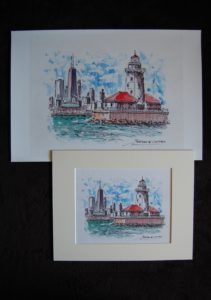 Chicago Harbor Lighthouse watercolor
