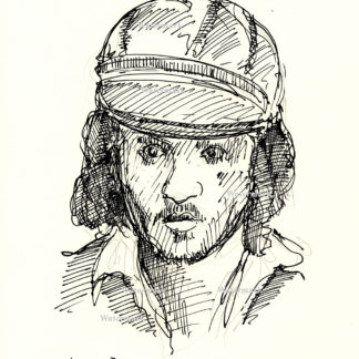 Johnny Depp #2401A pen & ink celebrity portrait with long hair and cap.