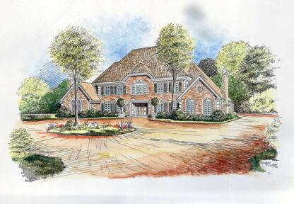 Watercolor architectrual rendering