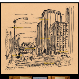 Downtown Chicago pen & ink drawing by Condren.
