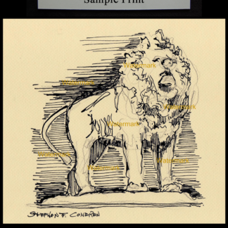 Pen & ink drawing of Art Institute of Chicago lion.