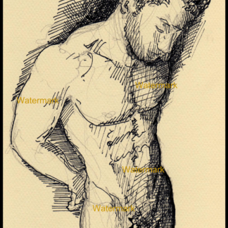 Pen & ink drawing of a nude male figure by Condren.