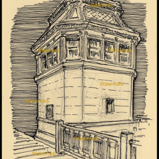Pen & ink drawing of a Chicago bridge house.