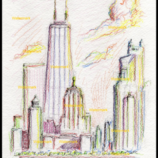 Chicago skyline color pencil drawing by Condren.