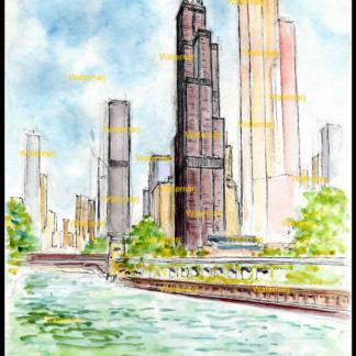 Willis Tower watercolor by Stephen F. Condren.