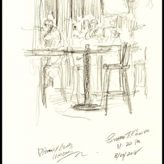 Bar Scene #123A live pencil drawing of people & JPEG scans.