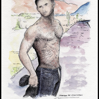 Josh Kloss watercolor with pen & ink by Stephen Condren.