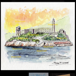 Alcatraz watercolor at sunset by Stephen F. Condren.