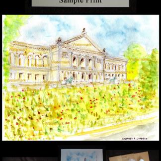 Art Institute of Chicago watercolor on Michigan Avenue.