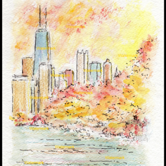 Chicago skyline watercolor in Lincoln Park at sunset.