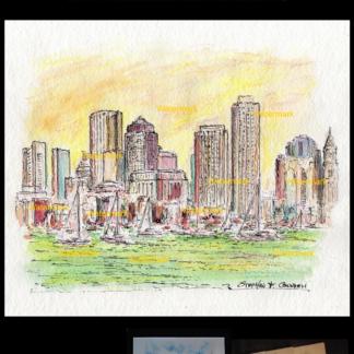 Boston skyline watercolor sunset by Condren.