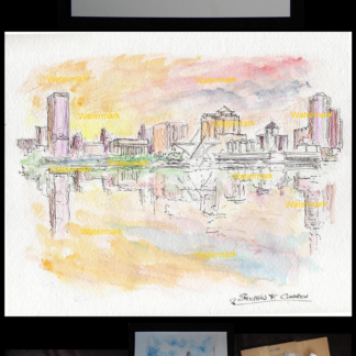 Milwaukee skyline watercolor at sunset by Condren.