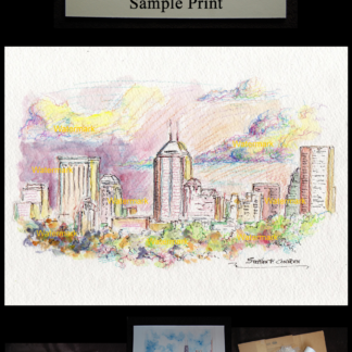 Indianapolis skyline watercolor by Condren #2448
