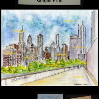 Chicago skyline watercolor overlooking Millennium Park.