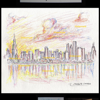 Chicago skyline color pencil drawing at sunset.