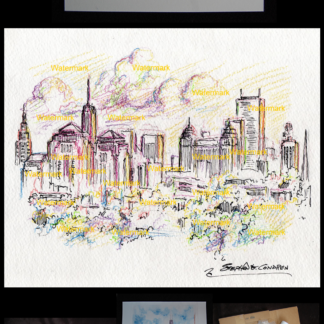 Buffalo skyline color pencil drawing by Condren.