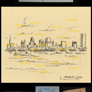 Buffalo skyline pen & ink drawing by Stephen F. Condren.