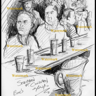 Pencil drawing of Buck's Gay Bar in Boystown Chicago.