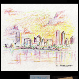 Milwaukee skyline color pencil drawing at sunset.
